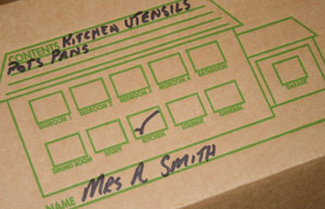 Handy room indicator on flaps of move in boxes